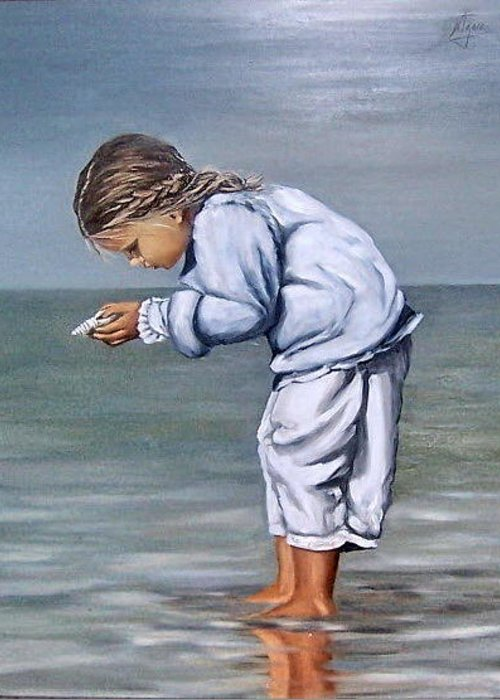 Kid Girl Seascape Sea Children Reflection Water Sea Shell Figurative Greeting Card featuring the painting Girl With Shell by Natalia Tejera