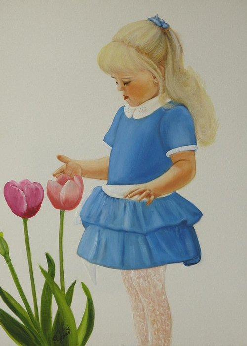Portrait Greeting Card featuring the painting Girl With Tulips by Joni McPherson