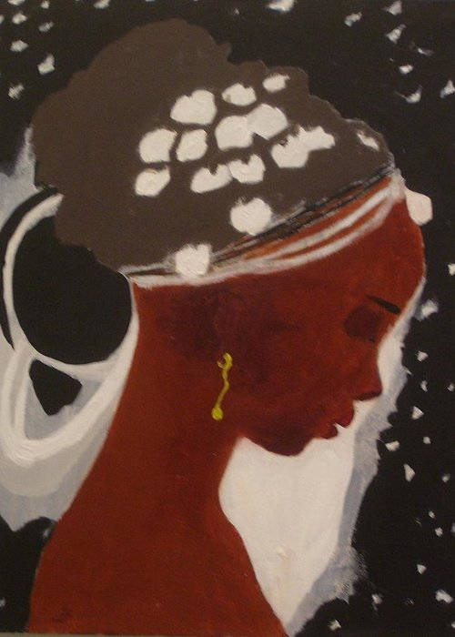 Black Hole And A Female Greeting Card featuring the painting Girl by Yetha Lumumba
