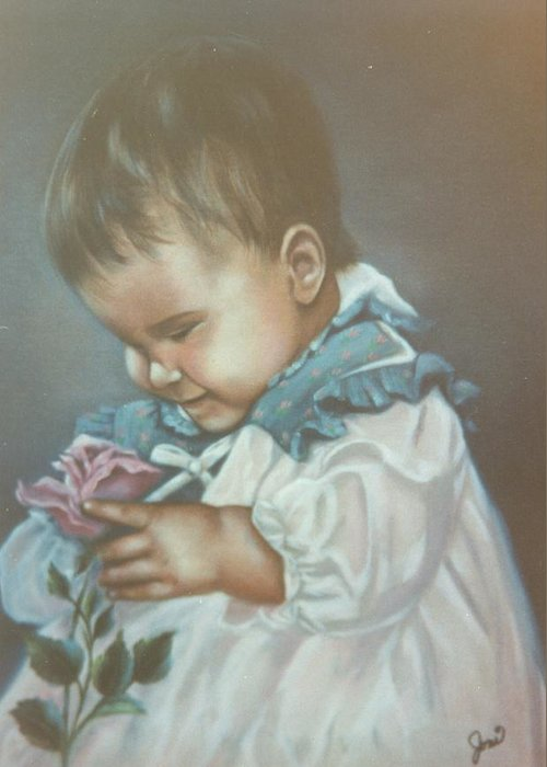 Child Greeting Card featuring the painting Girli Holding Rose by Joni McPherson