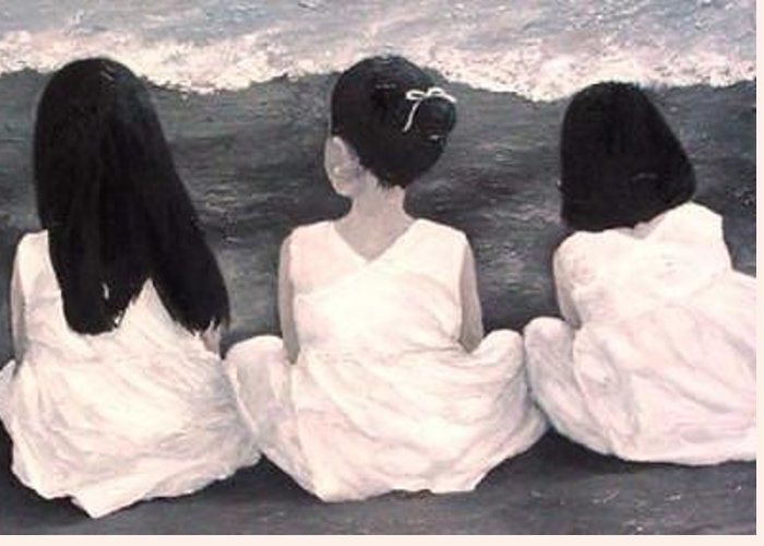 Girls Greeting Card featuring the painting Girls In White At The Beach by Patricia Awapara
