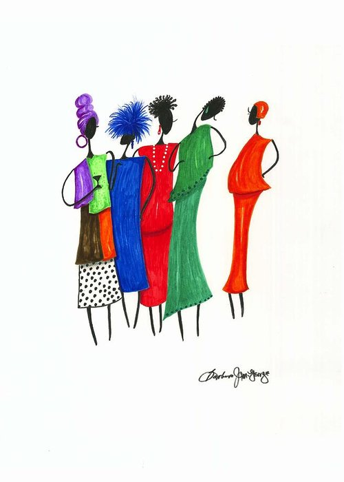 Painting Greeting Card featuring the painting Girls Night Out by Bee Jay