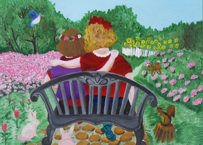 Acrylic Greeting Card featuring the painting Girls Sitting by M Valeriano