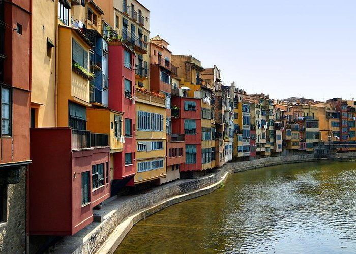 Girona Greeting Card featuring the photograph Girona Riverfront by Mathew Lodge