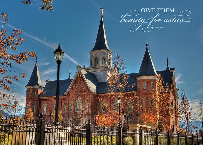 Provo City Center Temple Greeting Card featuring the photograph Give Them Beauty For Ashes by David Simpson