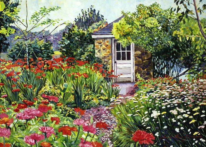 Gardens Greeting Card featuring the painting Giverny Gardeners House by David Lloyd Glover