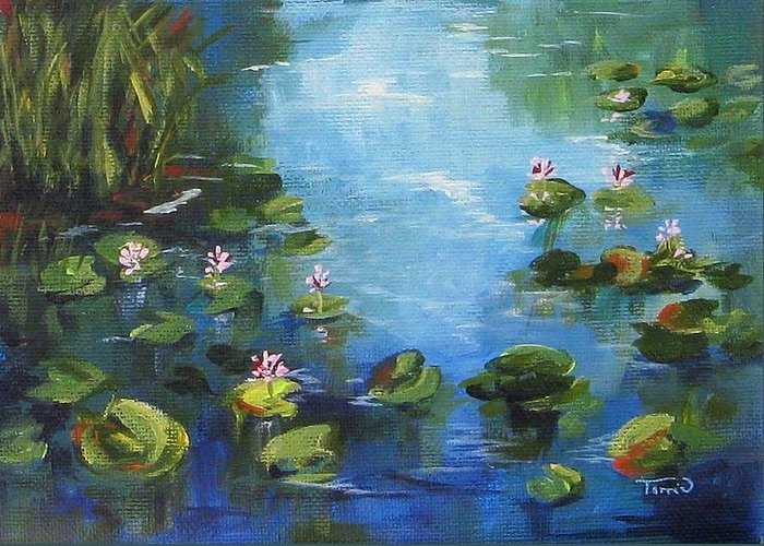 Giverny Greeting Card featuring the painting Giverny Lily Pond by Torrie Smiley