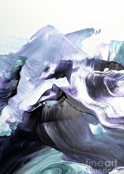 Abstract Greeting Card featuring the painting Glacier Mountains by PrintsProject