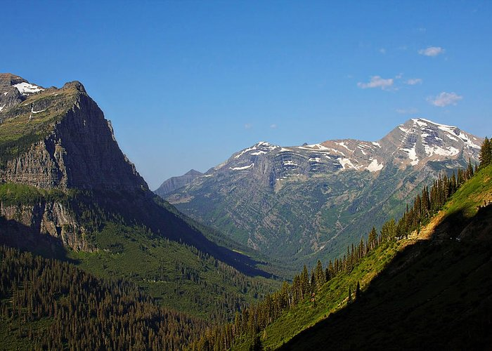 Glacier National Park Greeting Card featuring the photograph Glacier National Park Mt - View From Going To The Sun Road by Christine Till