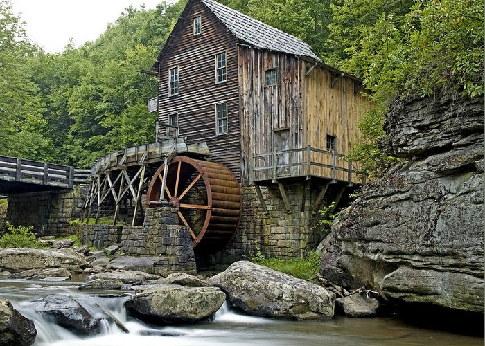 glade Creek Grist Mill Greeting Card featuring the photograph Glade Creek Grist Mill Located In Babcock State Park West Virginia by Brendan Reals