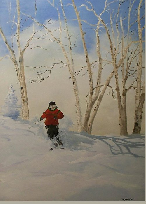 Skiing Greeting Card featuring the painting Glades by Ken Ahlering