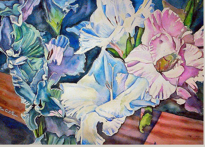 Gladiolas Greeting Card featuring the painting Glads On The Deck by June Conte Pryor
