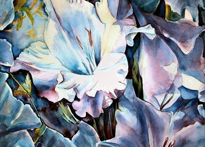 Gladiolas Floral Greeting Card featuring the painting Glads White by June Conte Pryor