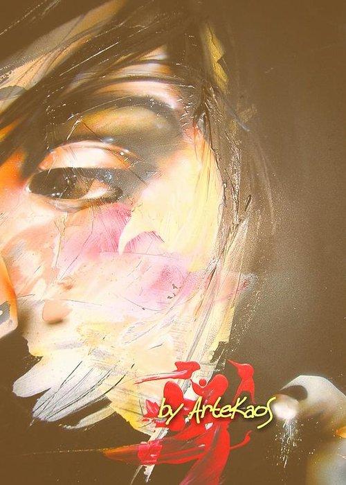 Glass Rinaldi Artekaos Contemporary Art Mixed Media Greeting Card featuring the painting Glass... by Alessandro Rinaldi