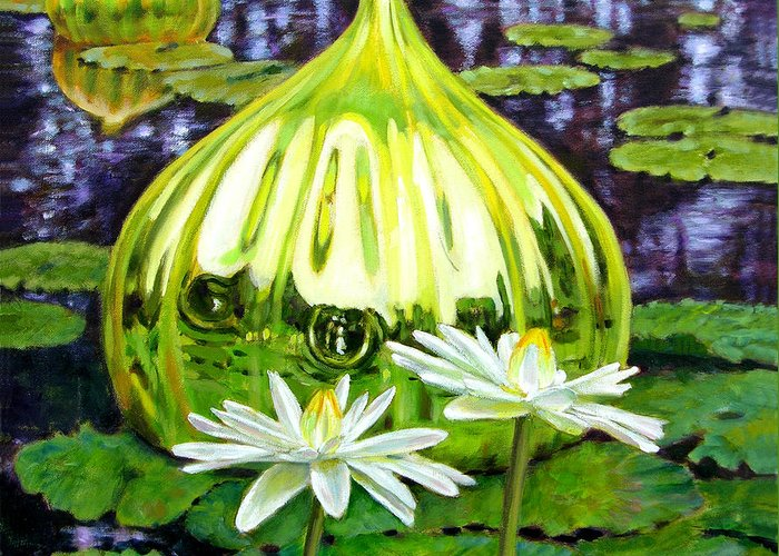 Water Lilies Greeting Card featuring the painting Glass Among The Lilies by John Lautermilch
