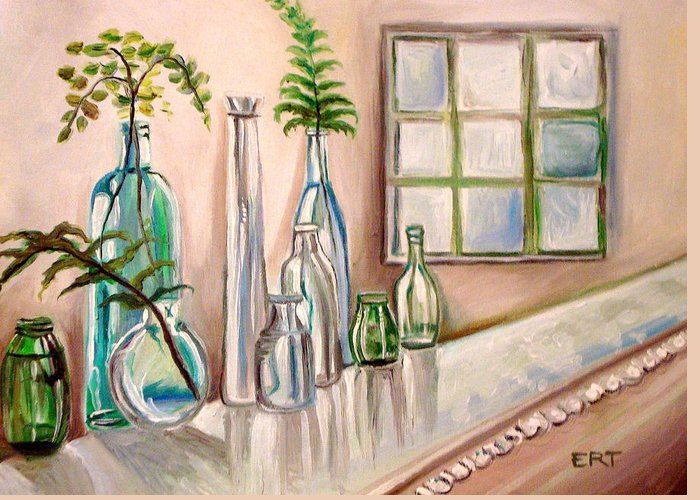 Glass Greeting Card featuring the painting Glass And Ferns by Elizabeth Robinette Tyndall