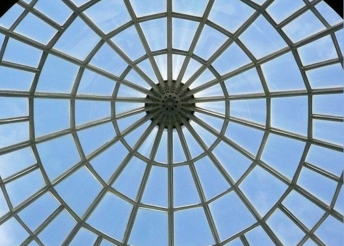 Glass Greeting Card featuring the photograph Glass Dome At Hall Of Liberation At Kelheim by Lori Seaman