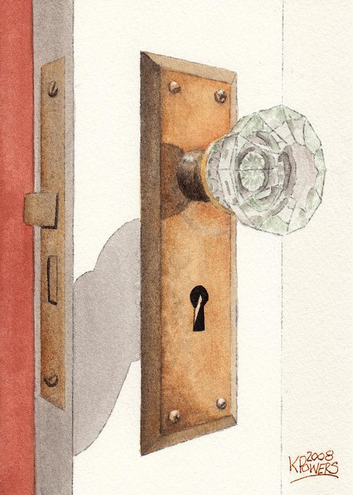 Lock Greeting Card featuring the painting Glass Door Knob And Passage Lock Revisited by Ken Powers