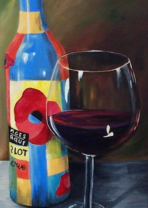 A Glass Of Red Wine Standing In Front Of The Colorful Bottle. Greeting Card featuring the painting Glass Of Merlot  by Torrie Smiley