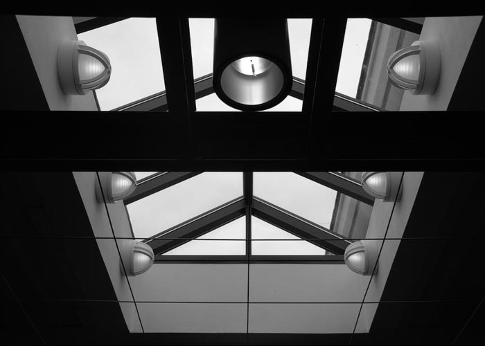 Black And White Greeting Card featuring the photograph Glass Sky Lights by Rob Hans