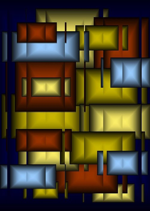 Glass Greeting Card featuring the digital art Glass Tile Abstract by Terry Mulligan