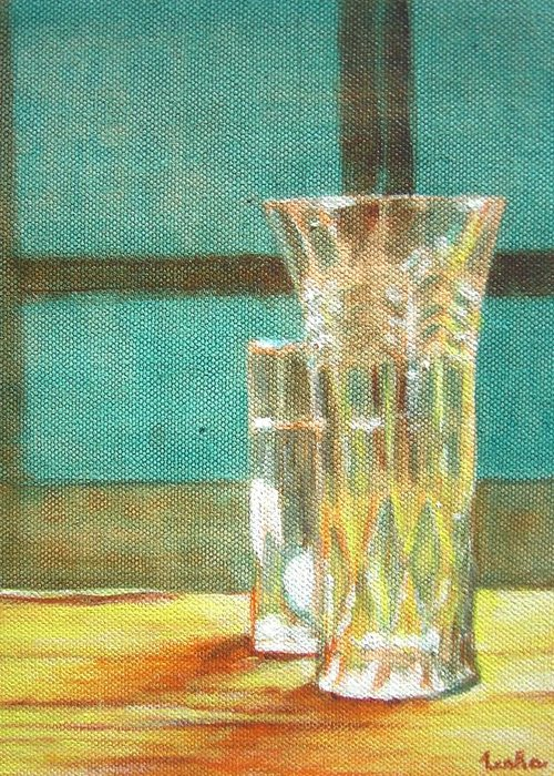 Glass Greeting Card featuring the painting Glass Vase - Still Life by Usha Shantharam