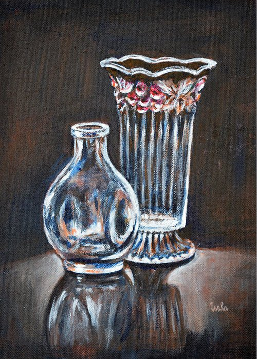 Glass Vases Greeting Card featuring the painting Glass Vases-still Life by Usha Shantharam