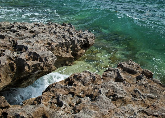 Wave Greeting Card featuring the photograph Glass Wave Blowing Rocks Preserve Jupiter Island Florida by Michelle Constantine