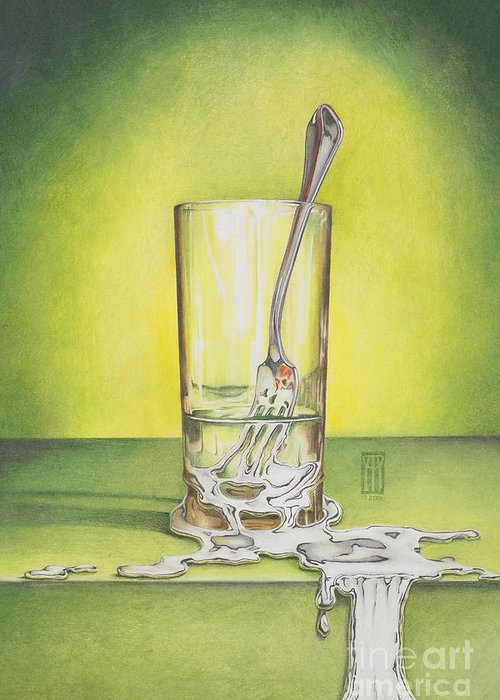Bizarre Greeting Card featuring the painting Glass With Melting Fork by Melissa A Benson