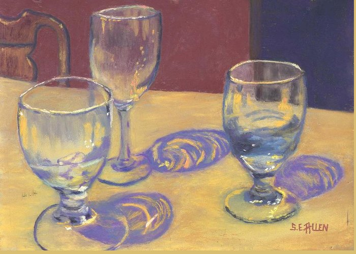 Glasses Greeting Card featuring the painting Glasslights by Sharon E Allen