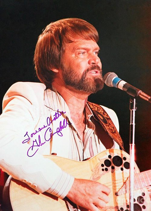 Glen Campbell Autographed Poster Greeting Card featuring the photograph Glen Campbell Autographed Poster by Pd