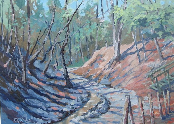 The Beach Greeting Card featuring the painting Glen Stewart Ravine by Edward Abela