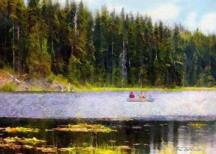 Boating Greeting Card featuring the painting Gliding Along by RC DeWinter