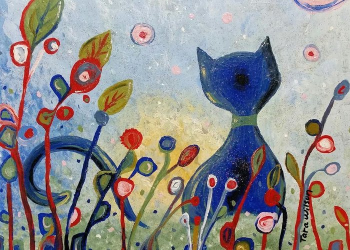 Glitter Greeting Card featuring the painting Glitter Kitty by Tara Wilson
