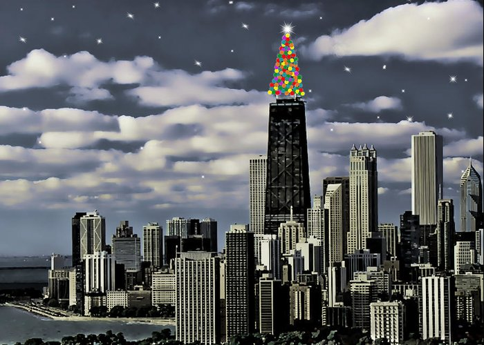 Chicago Greeting Card featuring the painting Glittering Chicago Christmas Tree by Elaine Plesser