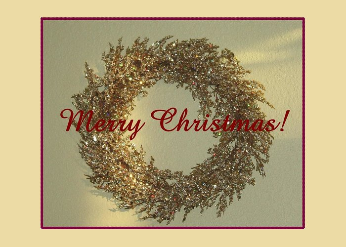Christmas Greeting Card featuring the photograph Glittery Wreath by Ellen O'Reilly