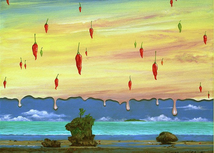 Surreal Painting Greeting Card featuring the painting Global Meltdown by Sharon Ebert