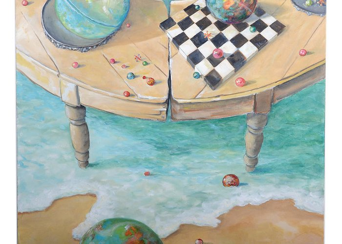 Globes Greeting Card featuring the painting Global Strategy by Lynda McLaughlin