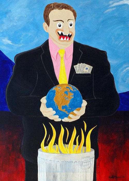 Animals Greeting Card featuring the painting Global Warming Truth by Sal Marino