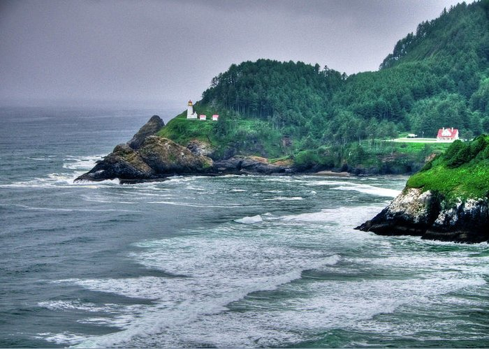 Beach Greeting Card featuring the photograph Gloomy Heceta Lighthouse by Connie Cooper-Edwards