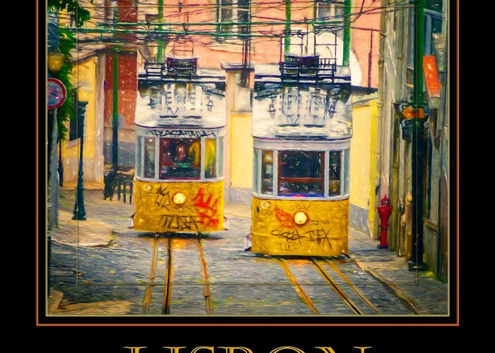 Joan Carroll Greeting Card featuring the photograph Gloria Funicular Lisbon Poster by Joan Carroll