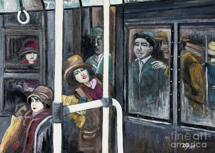 Gloria Swanson Greeting Card featuring the painting Gloria Swanson In Subway Scene From Manhandled by Reb Frost