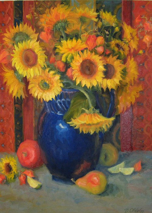 Still Life Greeting Card featuring the painting Glorioso by Bunny Oliver
