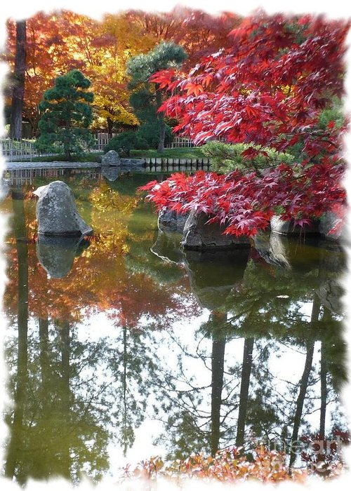 Autumn Greeting Card featuring the photograph Glorious Fall Colors Reflection With Border by Carol Groenen
