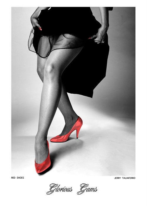 Figure Greeting Card featuring the photograph Glorious Gams - Red Shoes by Jerry Taliaferro
