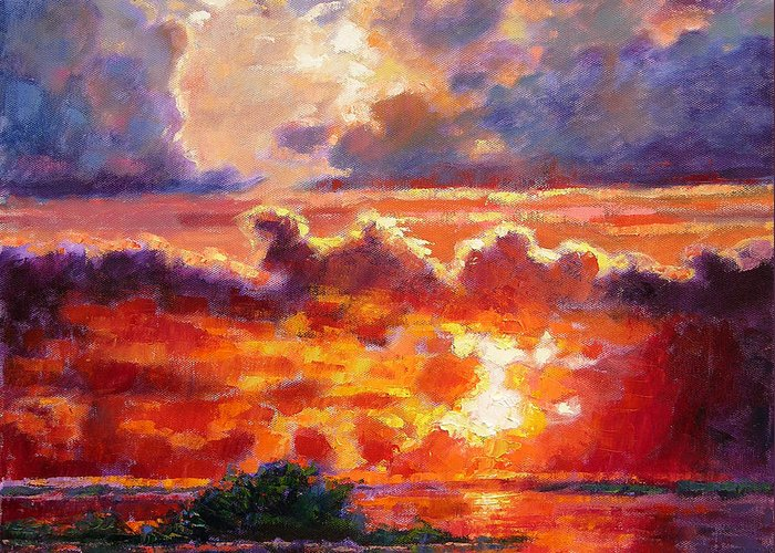 Sunset Greeting Card featuring the painting Glorious Sunset by John Lautermilch