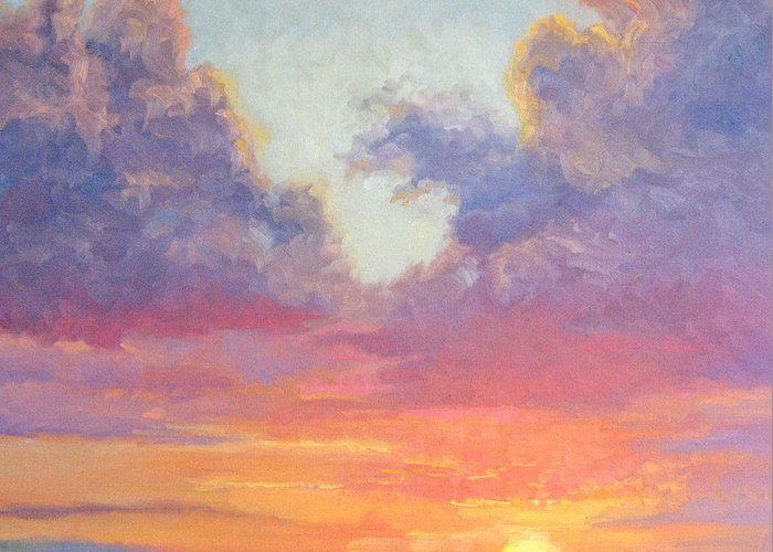 Sunset Greeting Card featuring the painting Glory Of The Western Sky by Bunny Oliver