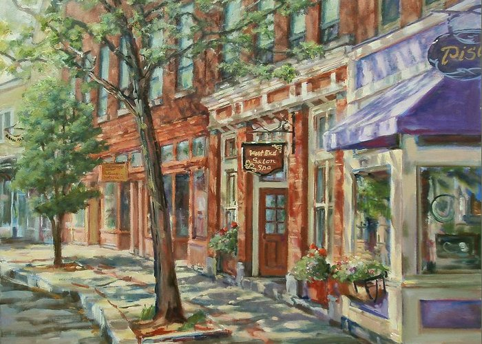 Heritage Greeting Card featuring the painting Gloucester Around Town by Sharon Jordan Bahosh