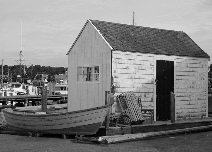 New England Greeting Card featuring the photograph Gloucester Boathouse In Black And White by Suzanne Gaff
