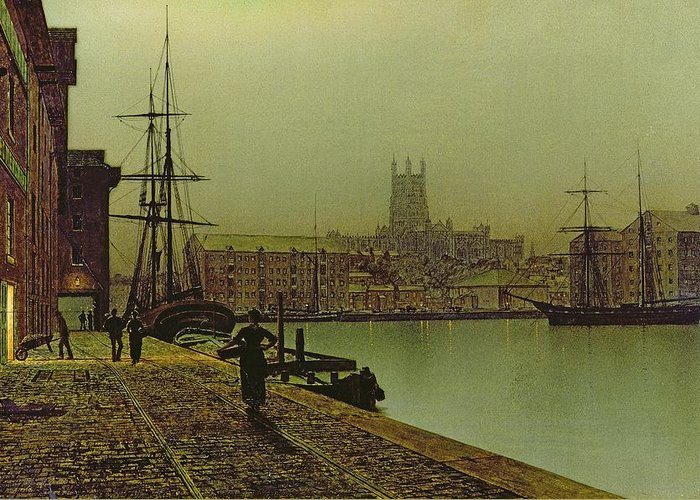 Gloucester Greeting Card featuring the painting Gloucester Docks by John Atkinson Grimshaw